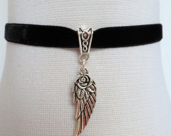 angel wing choker, black velvet choker, stretch ribbon