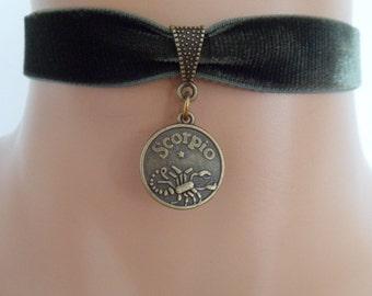 green velvet choker, scorpio choker, scorpio necklace, stretch ribbon, zodiac charm, antique bronze