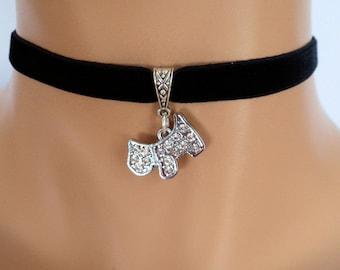 westie choker, black velvet choker, westie necklace, scottie necklace, stretch velvet ribbon