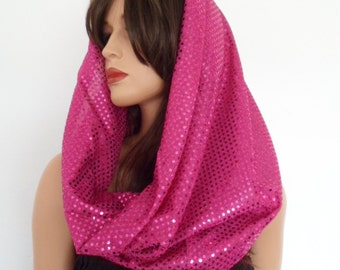 festival clothing, pink sequin snood,  festival hood, pink sequin scarf