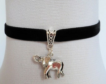 black velvet choker, elephant choker, elephant necklace, stretch ribbon, velvet necklace