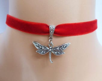 red velvet choker, dragonfly choker, dragonfly necklace, antique silver tone