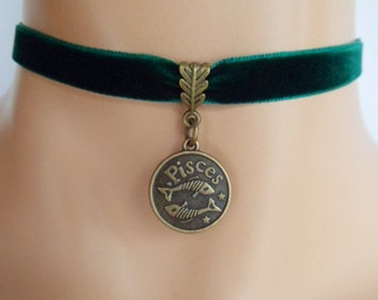 green velvet choker, pisces choker, pisces necklace, zodiac charm, antique bronze