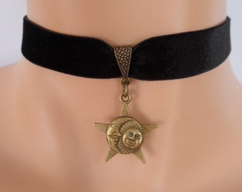 moon sun choker, black velvet choker, sun necklace, moon necklace, stretch ribbon