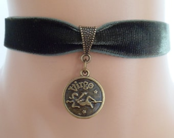 green velvet choker, virgo choker, virgo necklace, stretch ribbon, zodiac charm, antique bronze