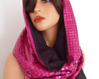pink sequin snood, festival hood, hologram snood, pink sequin scarf, festival clothing