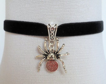 black spider choker, black velvet choker, spider necklace, stretch velvet