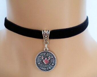 velvet choker, cancer choker, cancer necklace, stretch ribbon, black velvet, zodiac