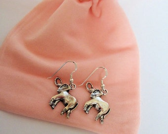 elephant earrings, elephant charm, silver tone earrings