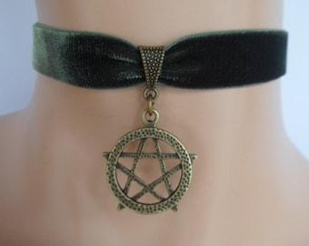 green velvet choker, pentagram choker, pentagram necklace