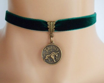 green velvet choker, taurus choker, taurus necklace, zodiac charm, antique bronze
