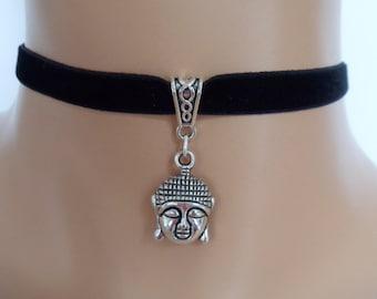 buddha choker, black velvet choker, elasticated ribbon, heart charm