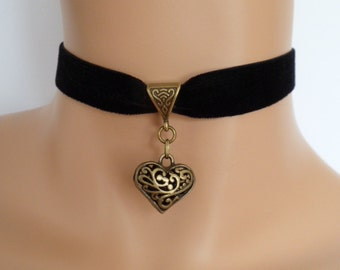 black velvet choker, black heart choker, elasticated ribbon, filigree heart, antique bronze