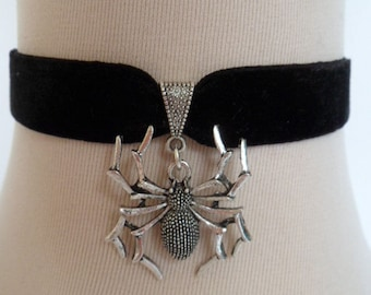spider choker, black velvet choker, stretch ribbon