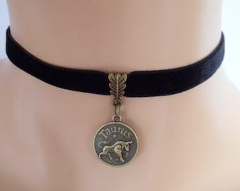 black velvet choker, taurus choker, taurus necklace, stretch ribbon, zodiac charm, antique bronze