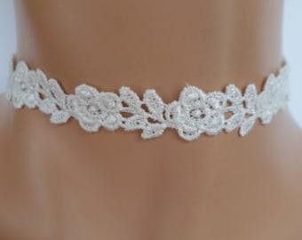 cream lace choker, guipure lace, lace necklace