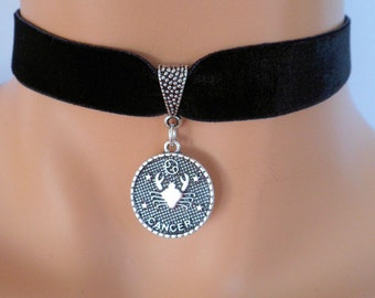 velvet choker, cancer choker, cancer necklace, stretch ribbon, black velvet, star sign, zodiac charm