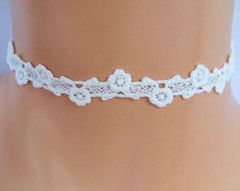 cream lace choker, ivory lace choker, guipure lace, lace necklace