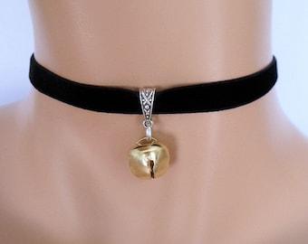 cat bell choker, black velvet choker, elasticated ribbon, gold jingle bell