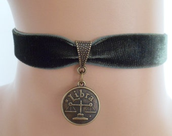 green velvet choker, libra choker, libra necklace, stretch ribbon, zodiac charm, antique bronze