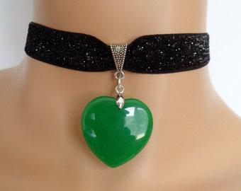 heart velvet choker, black glitter choker, green heart quartz, stretch ribbon