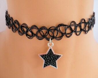 tattoo choker, black star choker, star necklace
