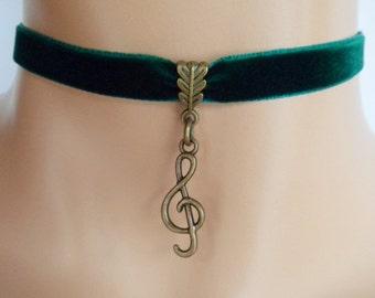 treble clef choker, green velvet choker, music note necklace
