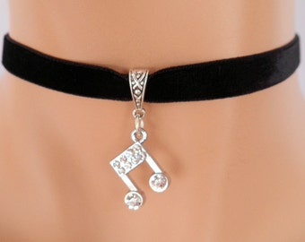 black velvet choker, music note choker, musical note necklace, stretch ribbon