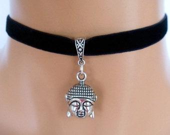 buddha choker, black velvet choker, buddha necklace, elasticated ribbon