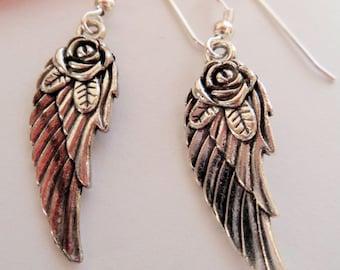 angel wing earrings, rose wing earrings