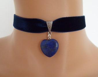 navy velvet choker, lapis lazuli gemstone, blue heart pendant, ribbon