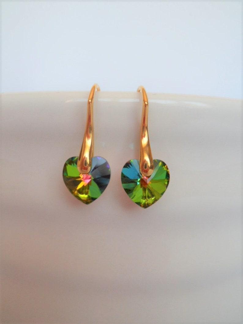 rainbow crystal sterling silver bridal gold filled earrings bridesmaids green crystal earrings crystal heart earrings