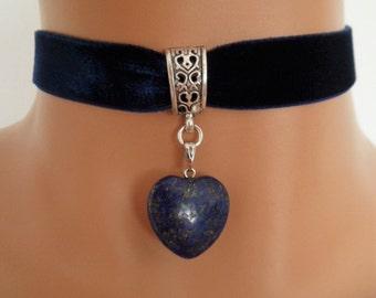 navy velvet choker, lapis lazuli gemstone, blue heart pendant, stretch ribbon