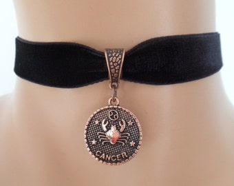 velvet choker, cancer choker, cancer necklace, stretch ribbon, black velvet, zodiac, copper tone