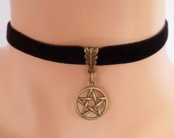 black velvet choker, pentagram choker, pentagram necklace