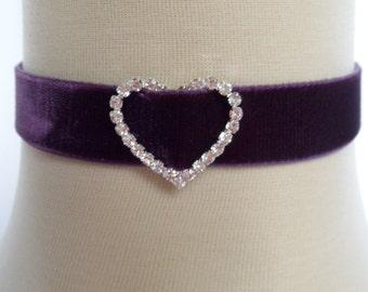 purple velvet choker,plum bridal choker,diamante choker,crystal choker, rhinestone choker,heart choker,stretch choker,wedding choker