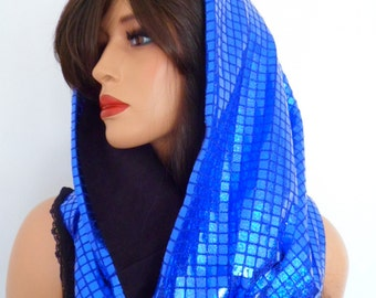 blue sequin snood, festival hood, hologram snood, blue sequin scarf, electric blue, festival clothing