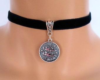 velvet choker, gemini choker, gemini necklace, stretch ribbon, black velvet, zodiac