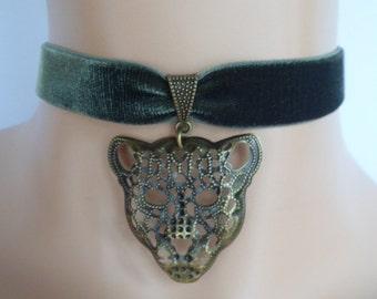 green velvet choker, leopard choker, leopard necklace, stretch ribbon, olive green