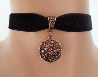 velvet choker, capricorn choker, capricorn necklace, stretch ribbon, black velvet, zodiac, copper tone