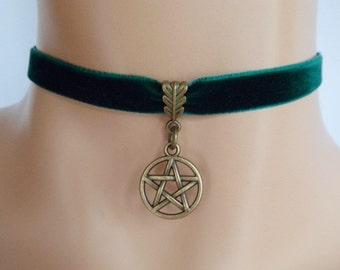 green velvet choker, pentagram choker