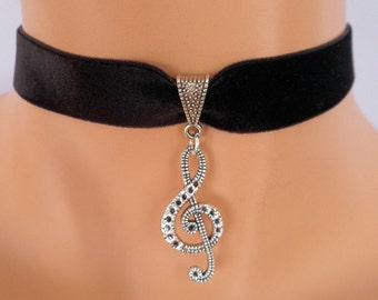 treble clef choker, black velvet choker, music note necklace, stretch ribbon