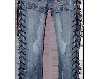 Blue denim on a pair of vintage Blue jeans