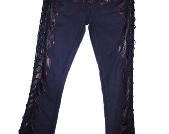 Faux Snakeskin with hand stiched side lace up