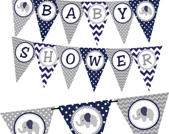 Navy Elephant Baby Shower Banner, INSTANT DOWNLOAD, Printable Party Decorations, Gray Elephant Banner, Baby Shower Banner, DIY Party