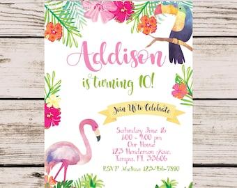 Tropical Invitation, Flamingo Invitation, Summer Birthday Party Invitation, Printable Birthday Invite, Pineapple Invitation, Pool Party