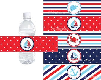 Nautical Water Bottle Label, Sailboat Water Bottle Wrap, INSTANT DOWNLOAD Printable File, Nautical First Birthday Water Wrapper, Baby Shower