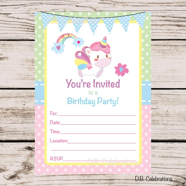 Unicorn Birthday Party Invitation Fill In The Blank INSTANT DOWNLOAD Printable Invite Pastel First