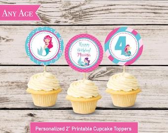 Mermaid Cupcake Toppers, Mermaid Birthday Decoration, DIY Printable Cupcake Pick Decoration File, Pink Mermaid Party Circle Cupcake Pick