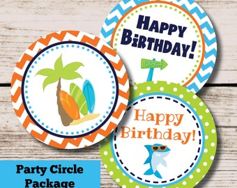 Summer Birthday Decorations, Summer Boy Beach Party Printable Centerpieces Cupcake Toppers, INSTANT DOWNLOAD File, Pool Party Package Decor